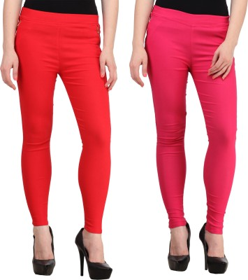 PRIHO Women's Red, Pink Jeggings