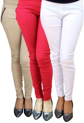 Magrace Women's Beige, Red, White Jeggings