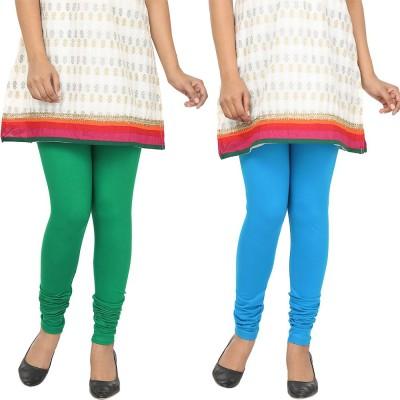 Agrima Fashion Women's Green, Light Blue Leggings