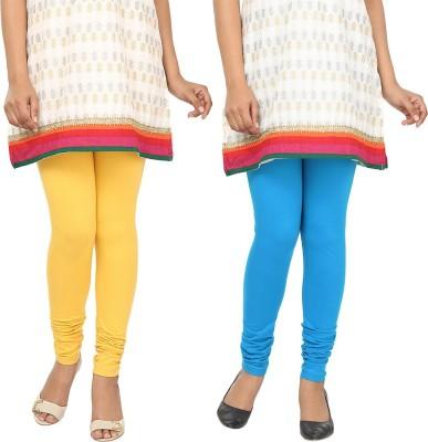 Agrima Fashion Women's Yellow, Light Blue Leggings