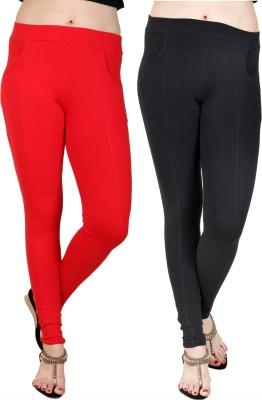 Baremoda Women's Red, Black Jeggings