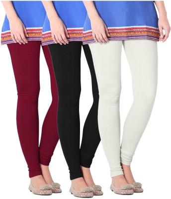 Nice Fit Women's Black, White, Maroon Leggings