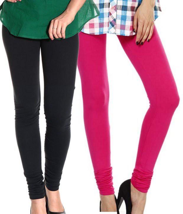 Angel Soft Womens Black, Pink Leggings(Pack of 2)