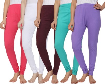 Krazy Katz Women's Red, White, Purple, Light Green, Purple Leggings
