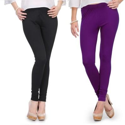 Body Size Women's Black, Purple Leggings