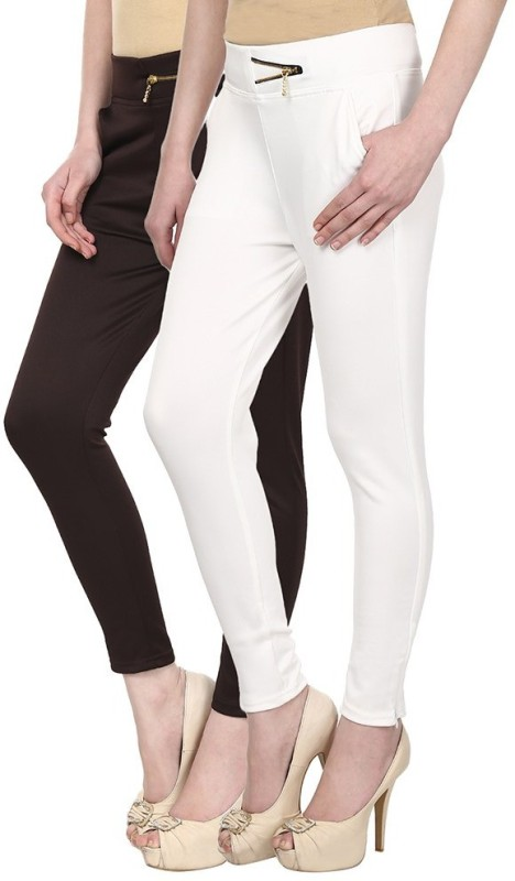 Skyline Trading Women's Brown, White Treggings(Pack of 2)