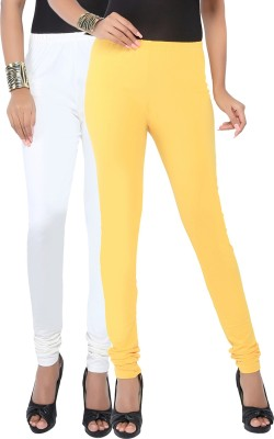 Fascino Women's White, Yellow Leggings