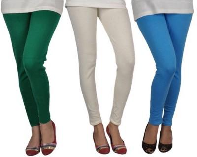 divine creations Girl's White, Green, Light Blue Leggings