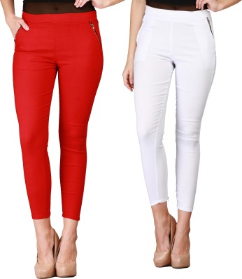 IKL Women's White, Red Jeggings