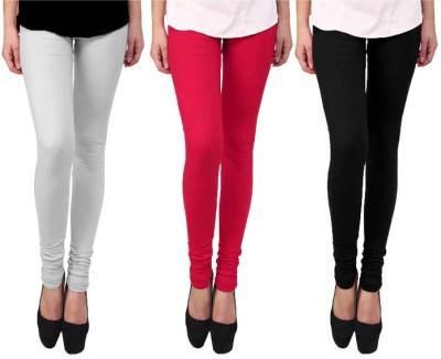 Escocer Women's White, Black, Pink Leggings