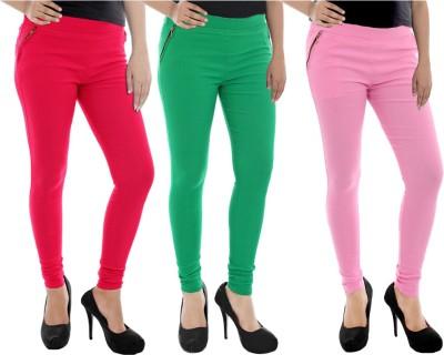 Paulzi Women's Pink, Green, Pink Jeggings