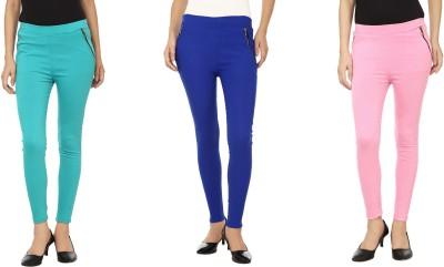 Lambency Women's Pink, Blue, Blue Jeggings
