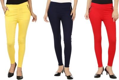 Lambency Women's Yellow, Red, Blue Jeggings