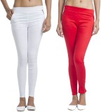 TeeMoods Women's Red, White Jeggings (Pa...