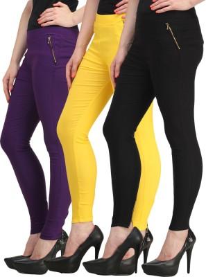 Jainish Women's Black, Purple, Yellow Jeggings