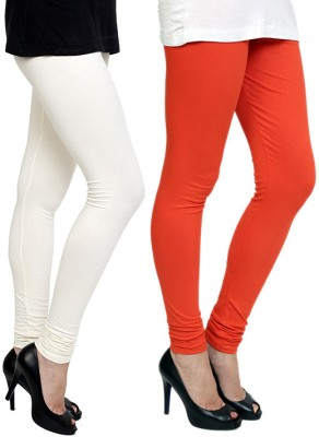 Pannkh Women's Orange, White Leggings