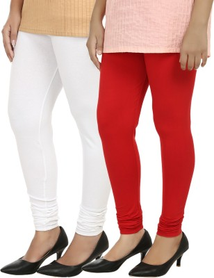 Day By Day Women's White, Red Leggings