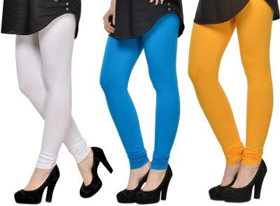 SareeGalaxy Women's White, Light Blue, Yellow Leggings