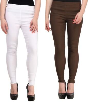 Magrace Women's White, Brown Jeggings