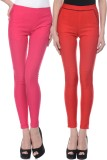 iHeart Women's Pink, Red Jeggings (Pack ...