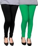 PAMO Women's Black, Green Leggings (Pack...
