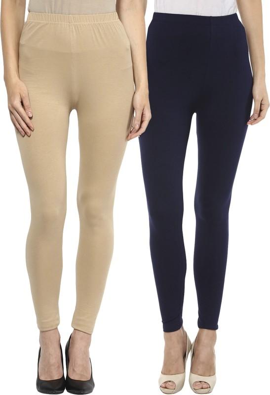Sakhi Sang Women's Beige, Blue Leggings(Pack of 2)
