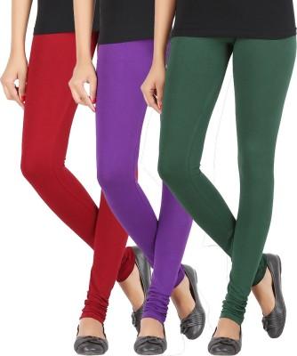 Elance Women's Maroon, Purple, Dark Green Leggings