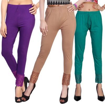 Comix Women's Purple, Brown, Beige, Green Leggings
