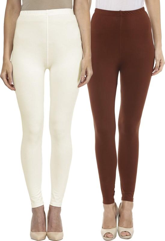Sakhi Sang Women's White, Brown Leggings(Pack of 2)