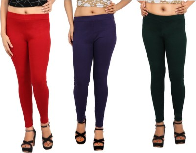 Comix Women's Red, Purple, Dark Green Leggings