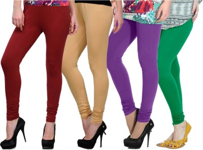 NGT Women's Maroon, Beige, Purple, Green Leggings
