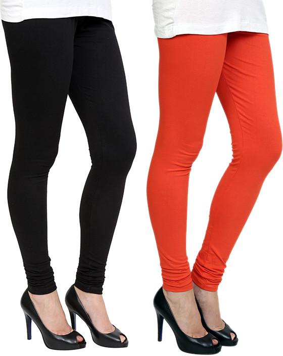 Pannkh Womens Orange, Black Leggings(Pack of 2)