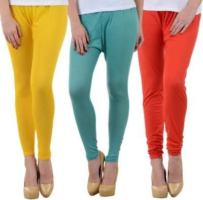 Mynte Women's Yellow, Light Blue, Red Leggings
