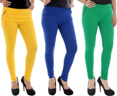 Paulzi Women's Yellow, Blue, Green Jeggings