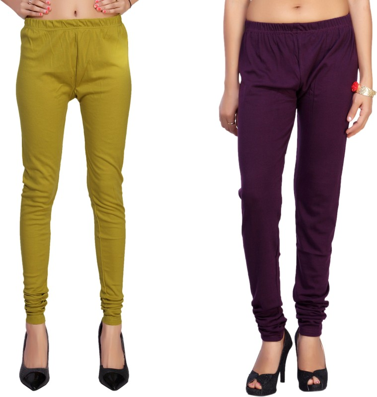 Comix Women's Green, Purple Leggings(Pack of 2)