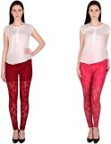 Simrit Women's Maroon, Pink Leggings (Pa...