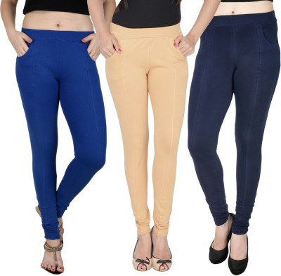 Baremoda Women's Blue, Beige, Dark Blue Jeggings