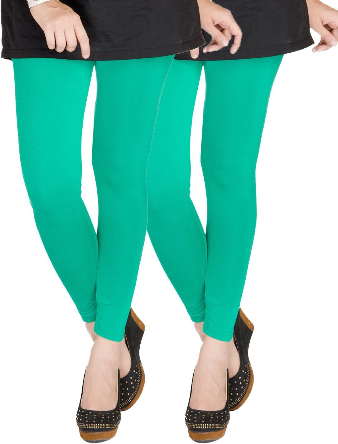 Medoo Womens Green Leggings(Pack of 2)