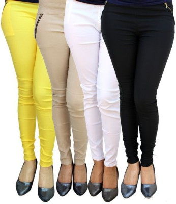 Magrace Women's Yellow, Beige, White, Black Jeggings