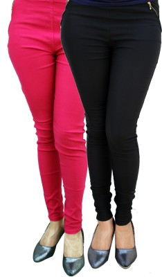 FIFO Women's Black, Pink Jeggings
