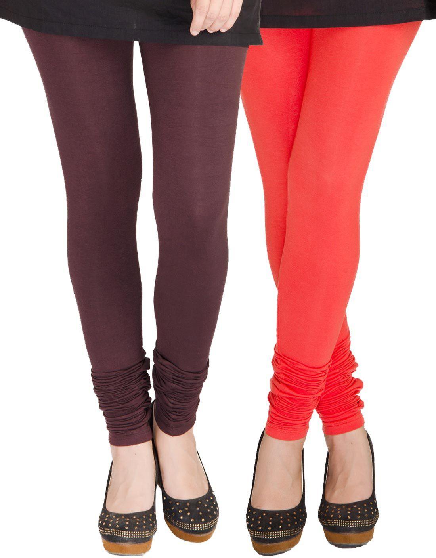 Medoo Womens Brown, Red Leggings(Pack of 2)