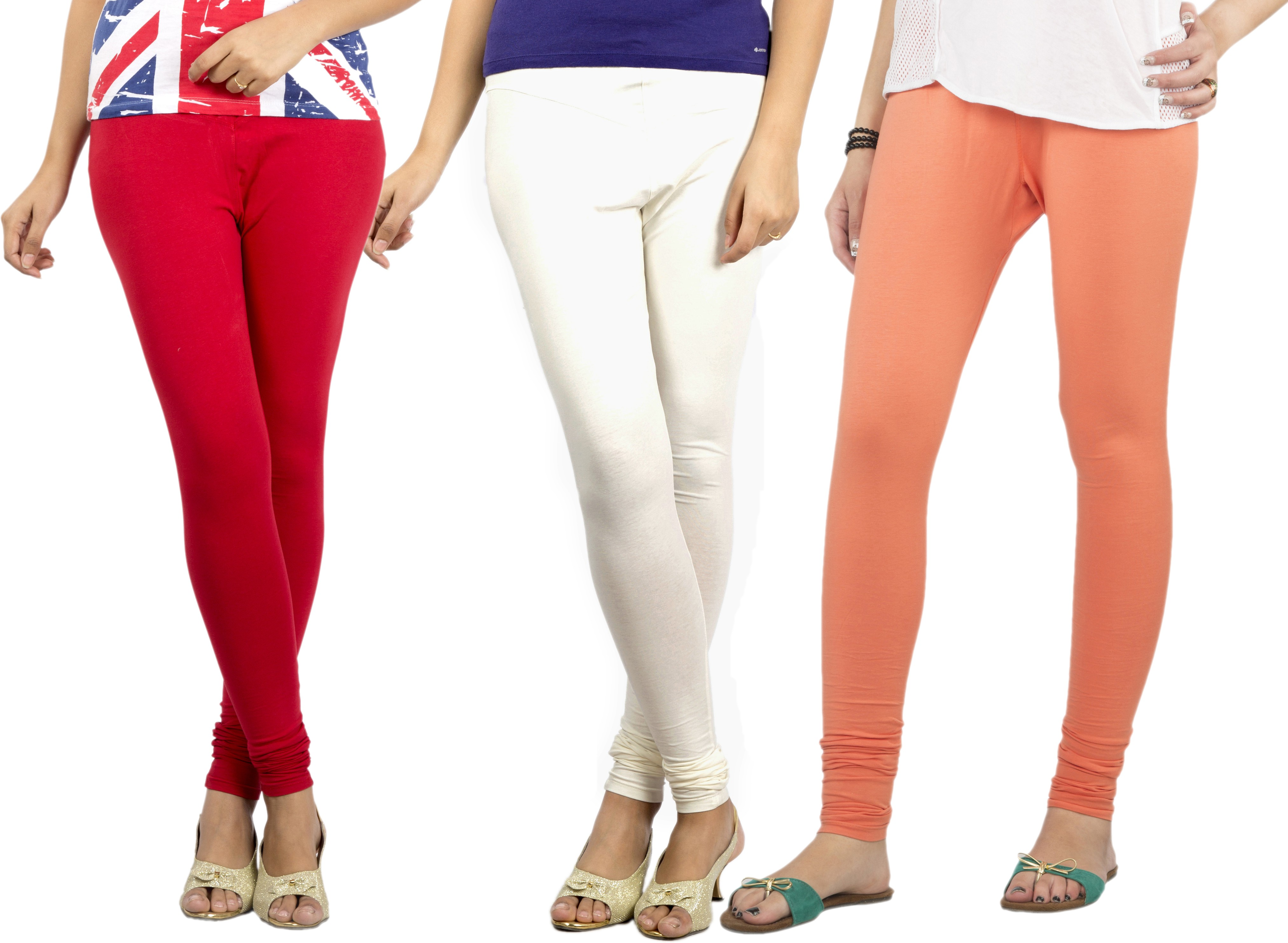 Jublee Womens White, Red, Orange Leggings(Pack of 3)