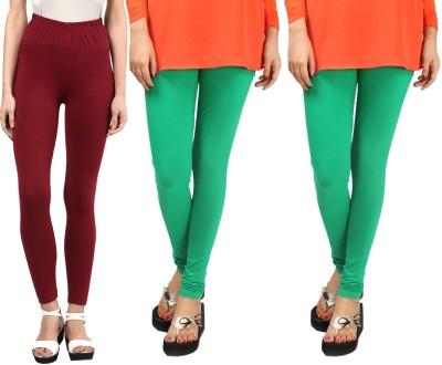 Sampoorna Collection Women's Maroon, Green, Green Leggings