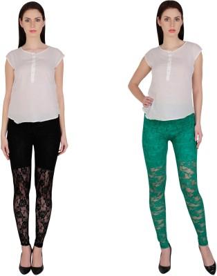 Simrit Women's Black, Green Leggings