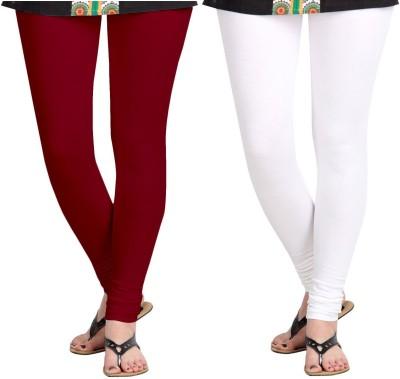 ZACHARIAS Women's Maroon, White Leggings
