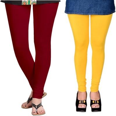 ZACHARIAS Women's Maroon, Yellow Leggings
