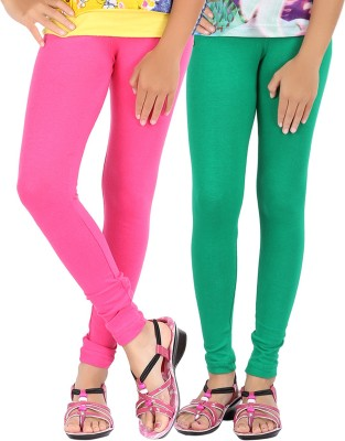 Be Style Girls Pink, Green Leggings(Pack of 2)