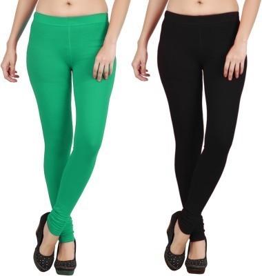 Shikha Girl's Black, Green Leggings