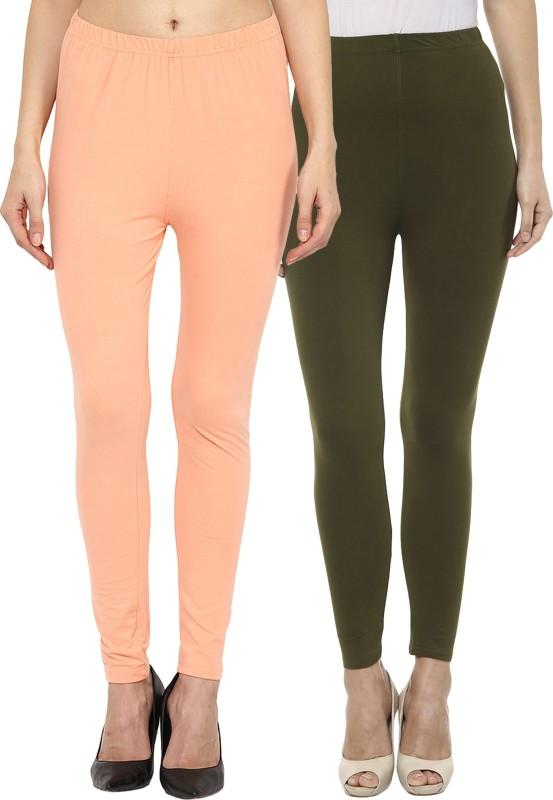 Sakhi Sang Women's Orange, Green Leggings(Pack of 2)