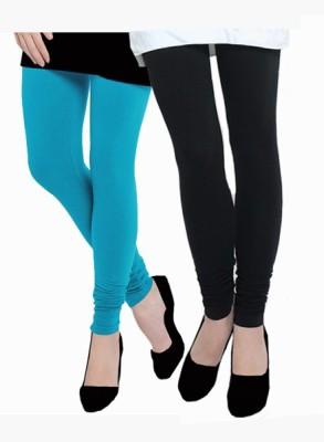Uzee Women's Light Blue, Black Leggings